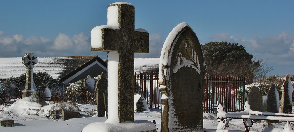 St Just Miners' Chapel Graveyard in the Snow