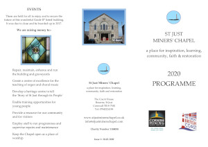 Thumbnail preview of the cover to the St Just Miners' Chapel 2020 Programme